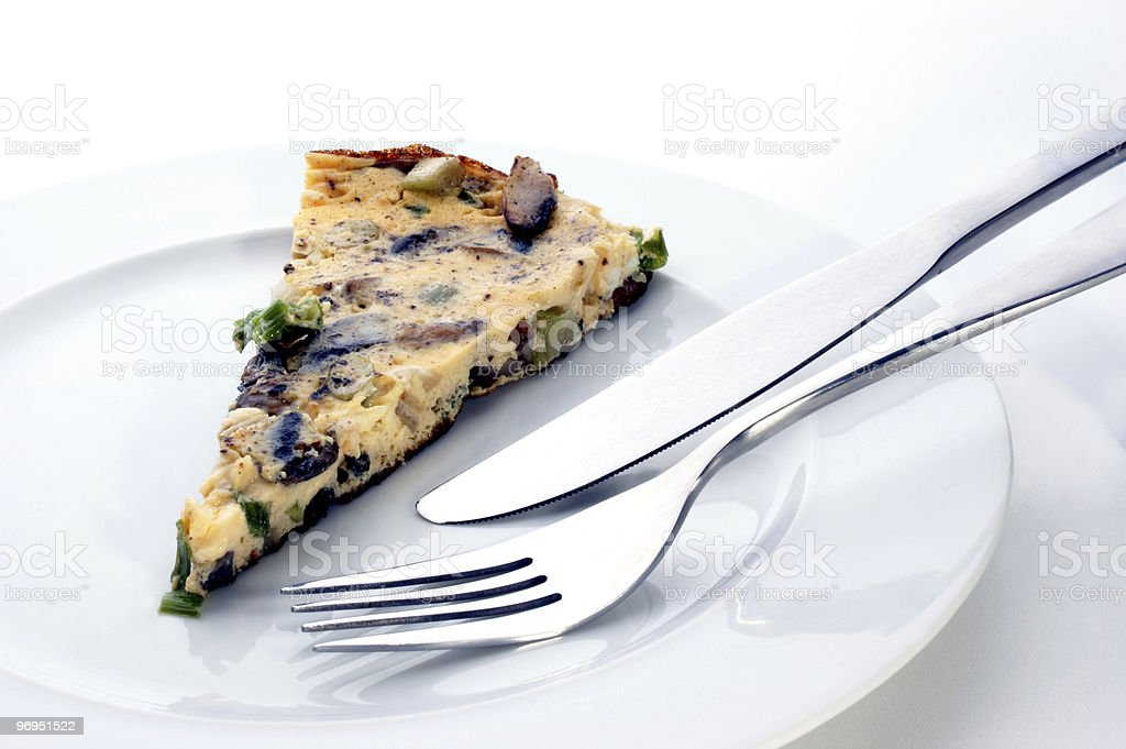 omelet with organic mushroom and spring onion royalty-free stock photo