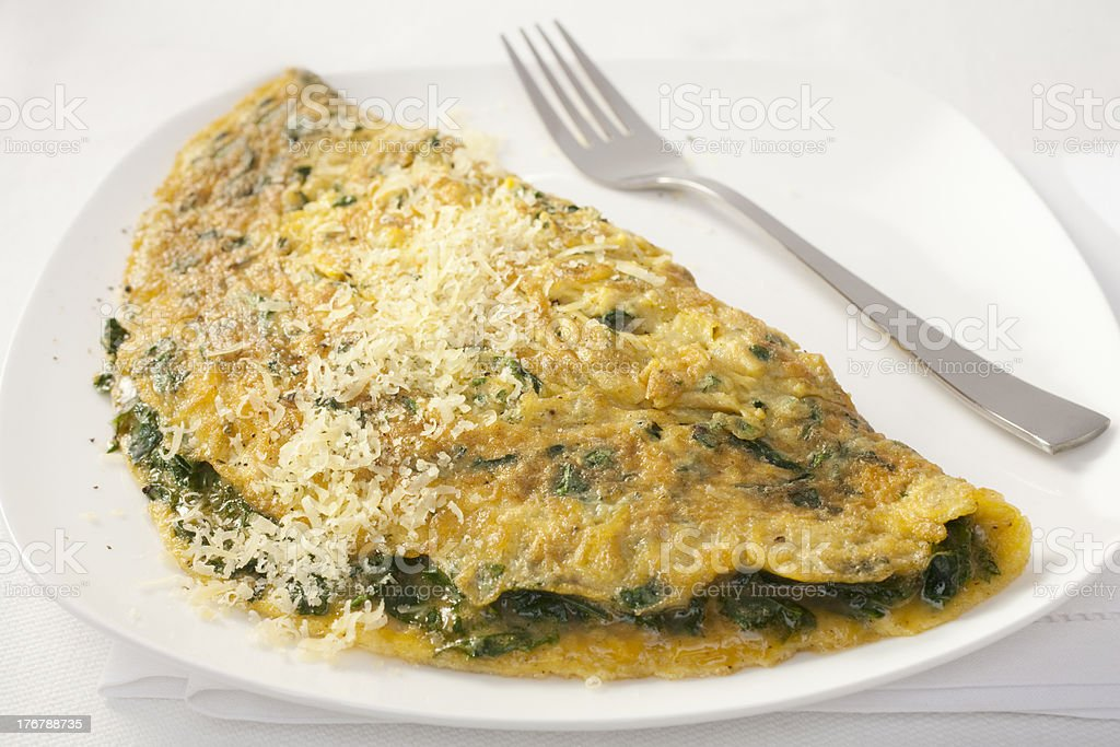 Omelet with Spinach and Parmesan royalty-free stock photo