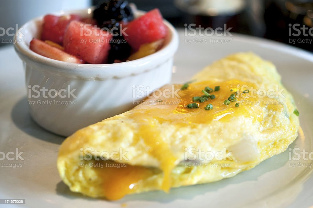 omelette and fruit stock photo