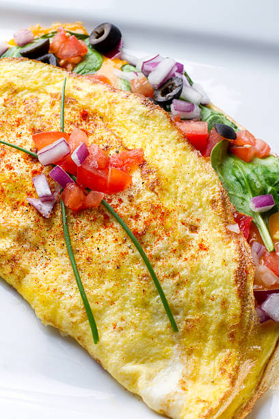 Omelette on White Plate stock photo