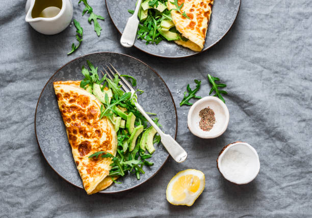 Omelette mit Frischkäse, Rucola und Avocado-Salat auf einem grauen Hintergrund, Ansicht von oben.  Gesundes Frühstück oder Diät Mittagessen – Foto