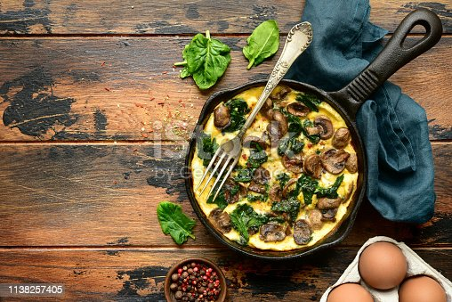 Omelette with mushrooms and spinach in a cast iron pan on a dark rustic wooden background.Top view with copy space.