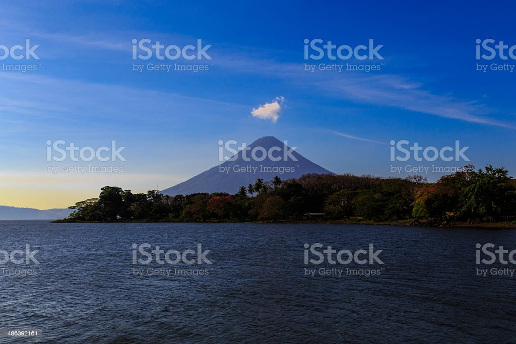 Ometepe view with blue sky stock photo