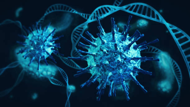 Ominous blue coronavirus cells intertwined with DNA and white blood cells on dark stock photo