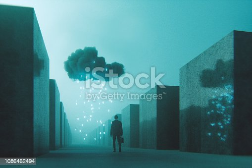 Ominous mobile cloud computing conceptual image. This is entirely 3D generated image.