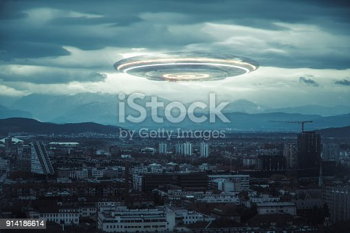 Ominous UFO above the city
