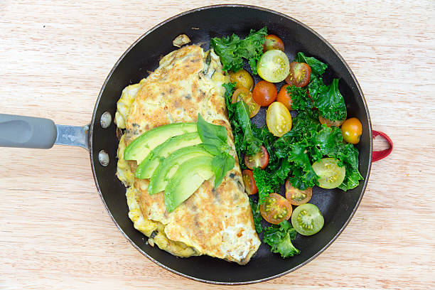 omlet made from fresh local organic ingredients stock photo
