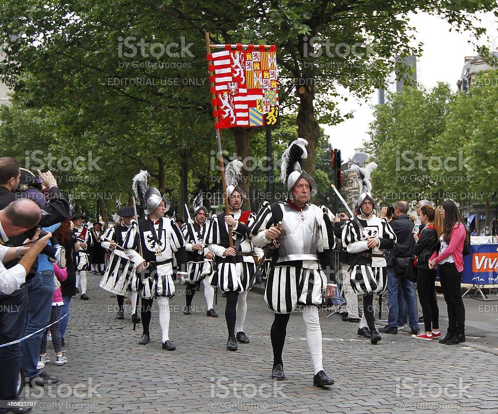 Ommegang medieval festval in Brussels stock photo