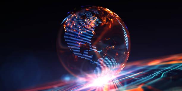 сommunication digital globe världen - jorden nyheter bildbanksfoton och bilder