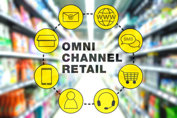 omni channel retail marketing concept - omnichannel marketing stock photos and pictures
