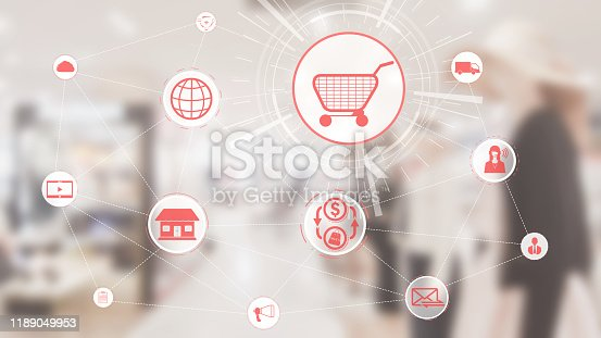 istock Omni channel technology of online retail business 1189049953