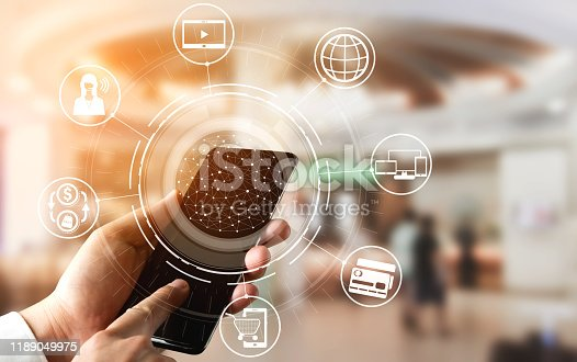 istock Omni channel technology of online retail business. 1189049975