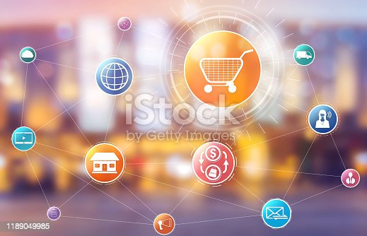 istock Omni channel technology of online retail business 1189049985