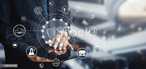 istock Omni channel technology of online retail business. 1189050036