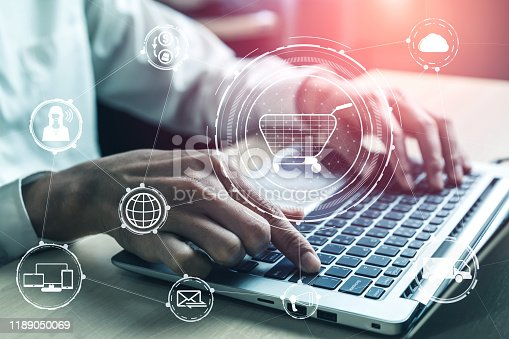 istock Omni channel technology of online retail business. 1189050069