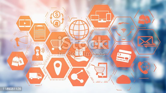 istock Omni channel technology of online retail business 1189051125