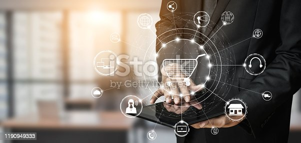 1025744816 istock photo Omni channel technology of online retail business. 1190949333