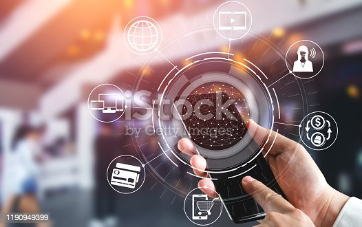 1025744816 istock photo Omni channel technology of online retail business. 1190949399