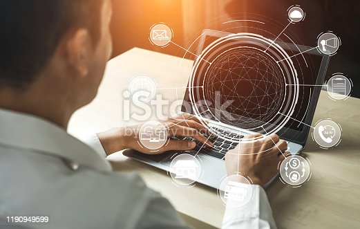 1025744816 istock photo Omni channel technology of online retail business. 1190949599