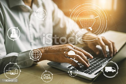 938918098 istock photo Omni channel technology of online retail business. 1190949722