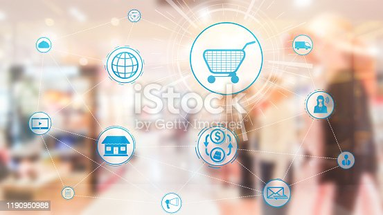 665284604istockphoto Omni channel technology of online retail business. 1190950988