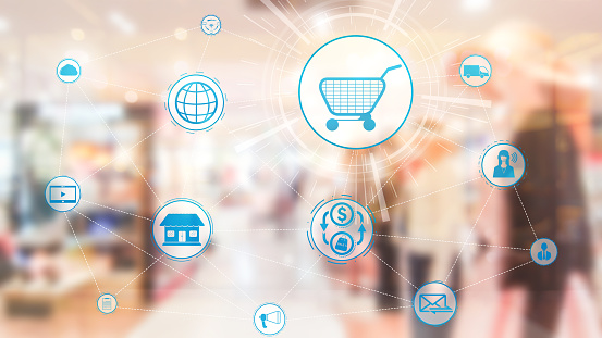 665284604 istock photo Omni channel technology of online retail business. 1190950988