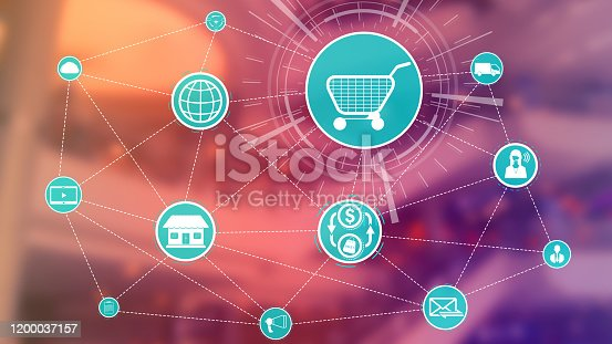 654078994 istock photo Omni channel technology of online retail business. 1200037157