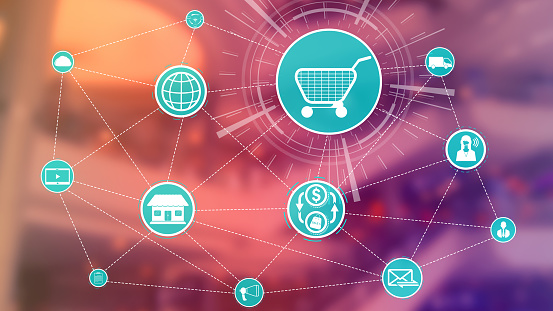 665284604 istock photo Omni channel technology of online retail business. 1200037157