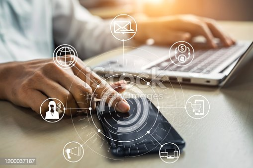 654078994 istock photo Omni channel technology of online retail business. 1200037167