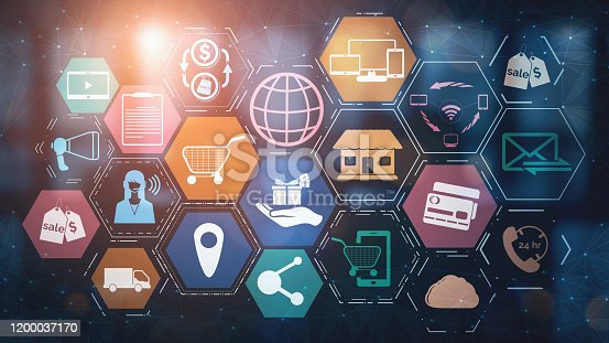 654078994 istock photo Omni channel technology of online retail business. 1200037170