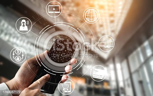 654078994 istock photo Omni channel technology of online retail business. 1200037172