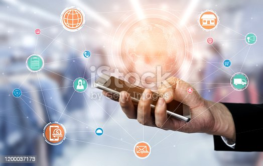 654078994 istock photo Omni channel technology of online retail business. 1200037173