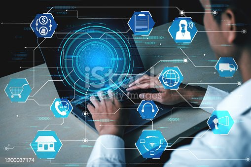 654078994 istock photo Omni channel technology of online retail business. 1200037174