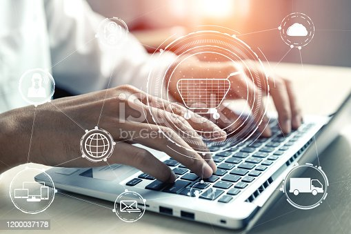 654078994 istock photo Omni channel technology of online retail business. 1200037178