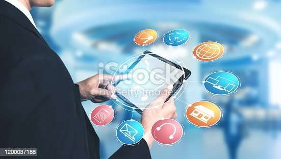 654078994 istock photo Omni channel technology of online retail business. 1200037188