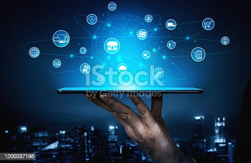 654078994 istock photo Omni channel technology of online retail business. 1200037195