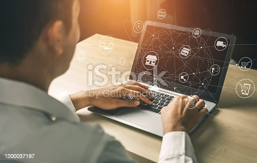 654078994 istock photo Omni channel technology of online retail business. 1200037197
