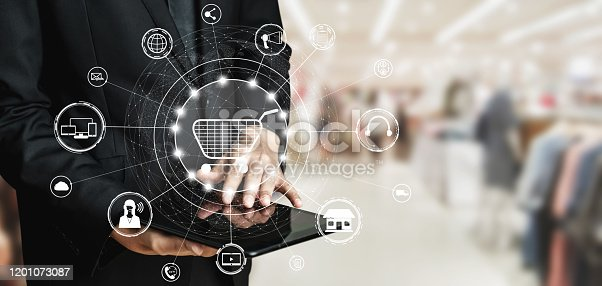 938918098 istock photo Omni channel technology of online retail business. 1201073087