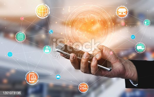 1025744816 istock photo Omni channel technology of online retail business. 1201073135