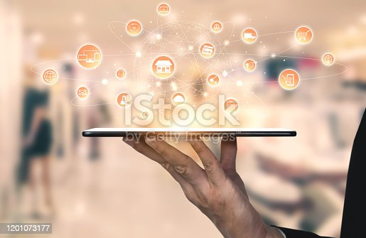 938918098 istock photo Omni channel technology of online retail business. 1201073177