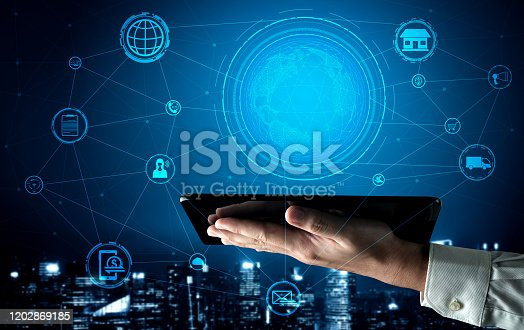 654078994 istock photo Omni channel technology of online retail business. 1202869185