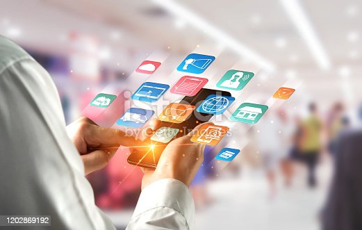 654078994 istock photo Omni channel technology of online retail business. 1202869192