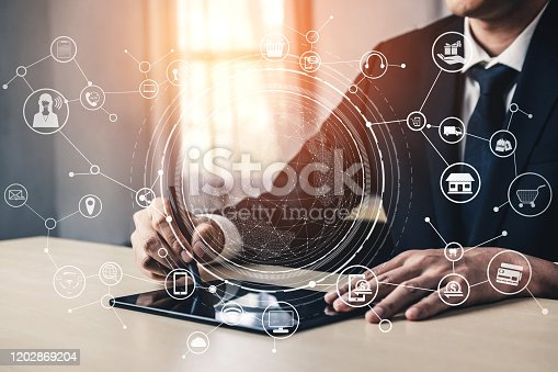 654078994 istock photo Omni channel technology of online retail business. 1202869204