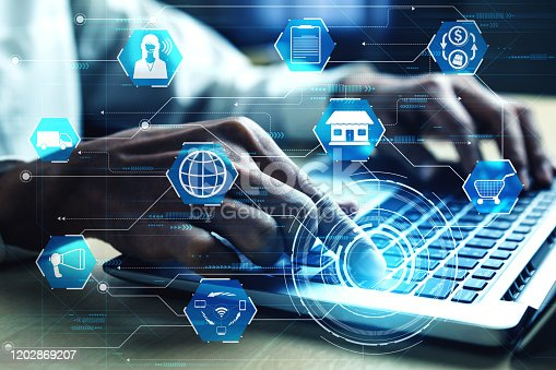 654078994 istock photo Omni channel technology of online retail business. 1202869207