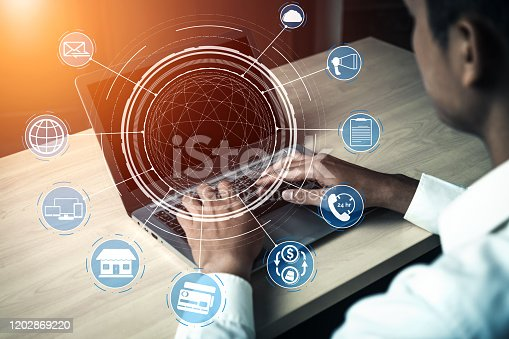 654078994 istock photo Omni channel technology of online retail business. 1202869220