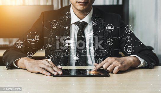 654078994 istock photo Omni channel technology of online retail business. 1202869225