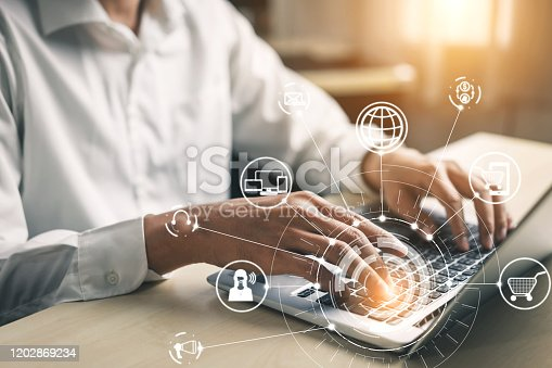 654078994 istock photo Omni channel technology of online retail business. 1202869234