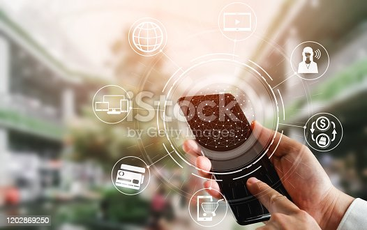 654078994 istock photo Omni channel technology of online retail business. 1202869250