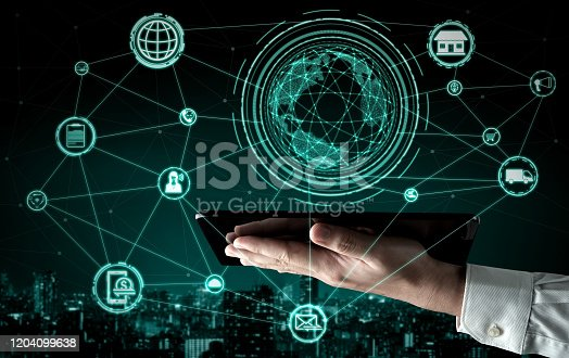 938918098 istock photo Omni channel technology of online retail business. 1204099638