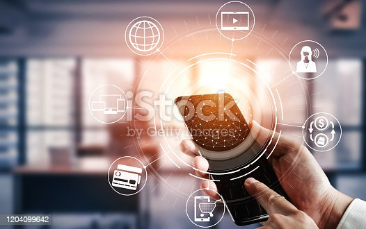 938918098 istock photo Omni channel technology of online retail business. 1204099642